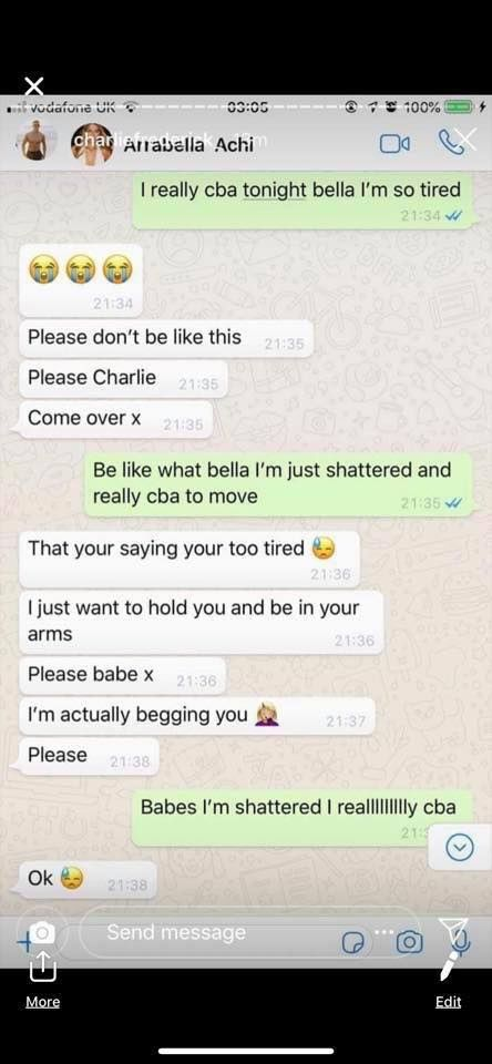 Image may contain: Arabella and Charlie Frederick, Arabella Chi, Charlie Frederick, Love Island, screen shots, DMs, messages, together, girlfriend, boyfriend, leaked, Text Message, Text