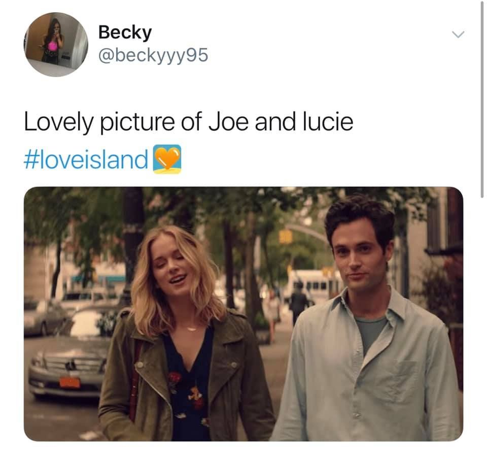 Image may contain: Love Island week one memes, Love Island, memes, 2019, Joe, Lucie, You, Netflix, funny, reaction, Vehicle, Transportation, Automobile, Car, Jacket, Coat, Apparel, Clothing, Text, Human, Person
