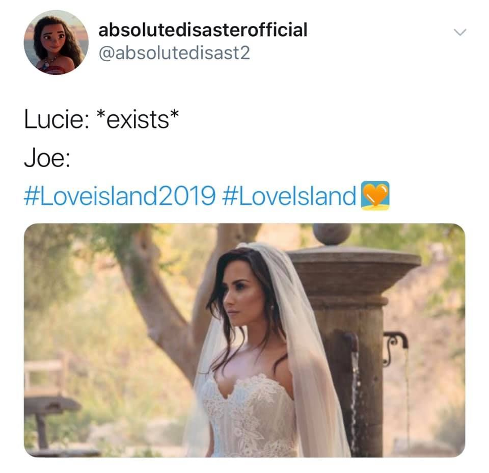 Image may contain: Joe from Love Island, Love Island, Netflix, Joe, You, Lucie, meme, Wedding, Gown, Text, Fashion, Robe, Human, Person, Clothing, Apparel