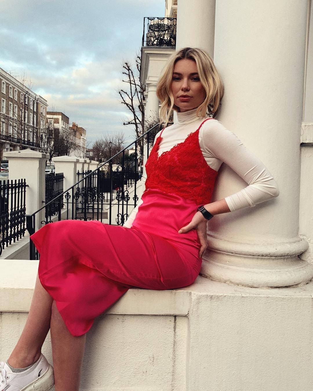 Image may contain: Made in Chelsea cast now, Made in Chelsea, cast, then, now, before, after, iconic, original, Toff, Georgia Toffolo, Woman, Dress, Sleeve, Female, Footwear, Shoe, Person, Human, Robe, Gown, Evening Dress, Fashion, Apparel, Clothing