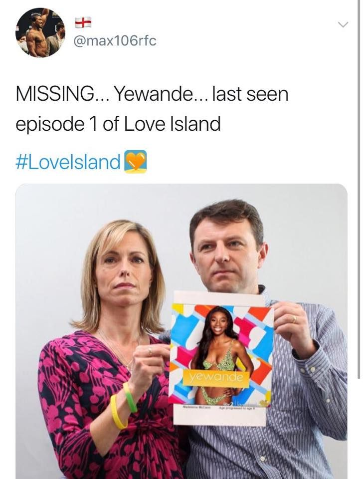 Image may contain: Love Island week one memes, Love Island, memes, tonight, last night, 2019, tweet, reaction, missing, Madeleine McCann, Yewande, Woman, Face, People, Female, Text, Human, Person