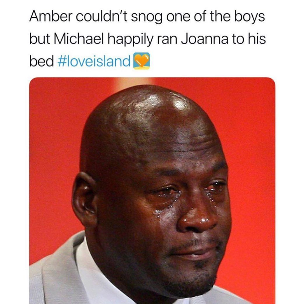 Image may contain: Casa Amor Love Island memes, Love Island, Casa Amor, meme, reaction, tweet, funny, savage, best, Twitter, Amber, Joanna, Michael, Accessories, Accessory, Tie, Text, Advertisement, Poster, Face, Human, Person, Head