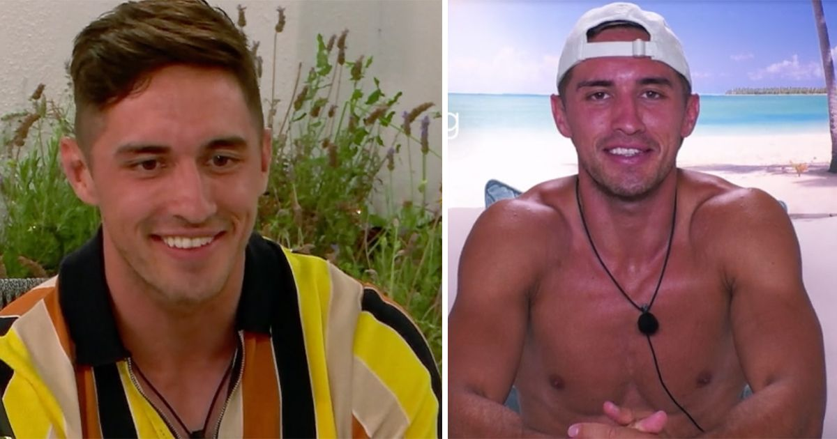Image may contain: Love Island tans, Love Island, tan, burn, sun, before, after, tanformation, Greg, Apparel, Clothing, Plant, Smile, Man, Person, Face, Human