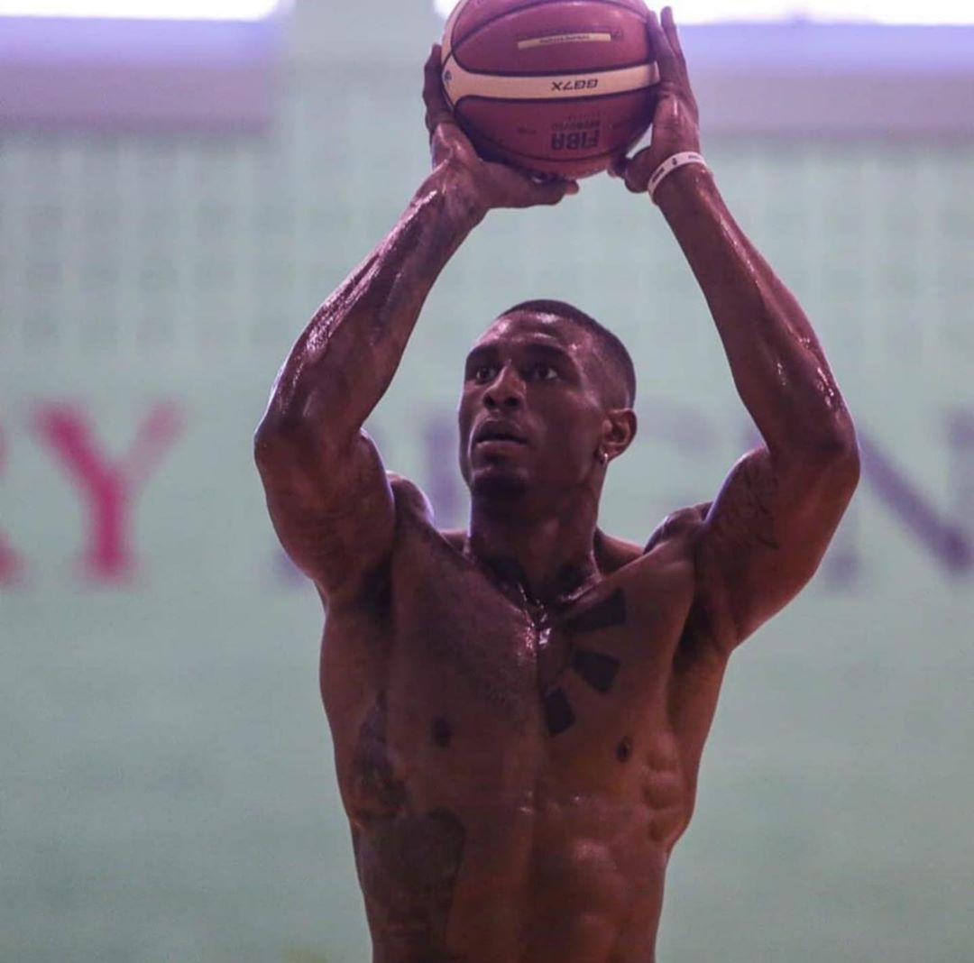 Image may contain: Ovie Soko net worth, Ovie, Ovie, Soko, Love Island, basketball, team, net worth, earnings, money, salary, per year, worth, how much, 2019, Arm, People, Clothing, Apparel, Helmet, Human, Person