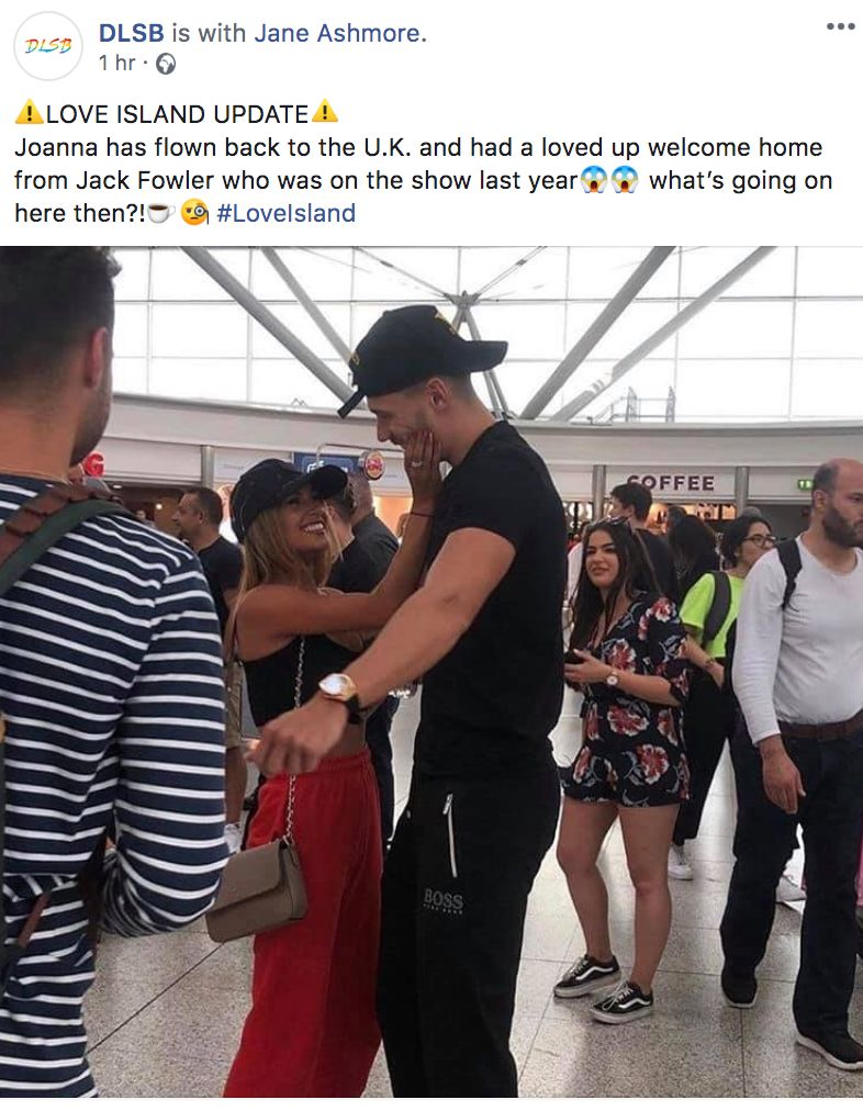 Image may contain: Joanna and Jack Fowler, Joanna Chimonides, Jack Fowler, Joanna, Jack, Love Island, airport, pictures, hugging, kissing, Cap, Bag, Hat, Pants, Shorts, Shoe, Footwear, Human, Person, Clothing, Apparel