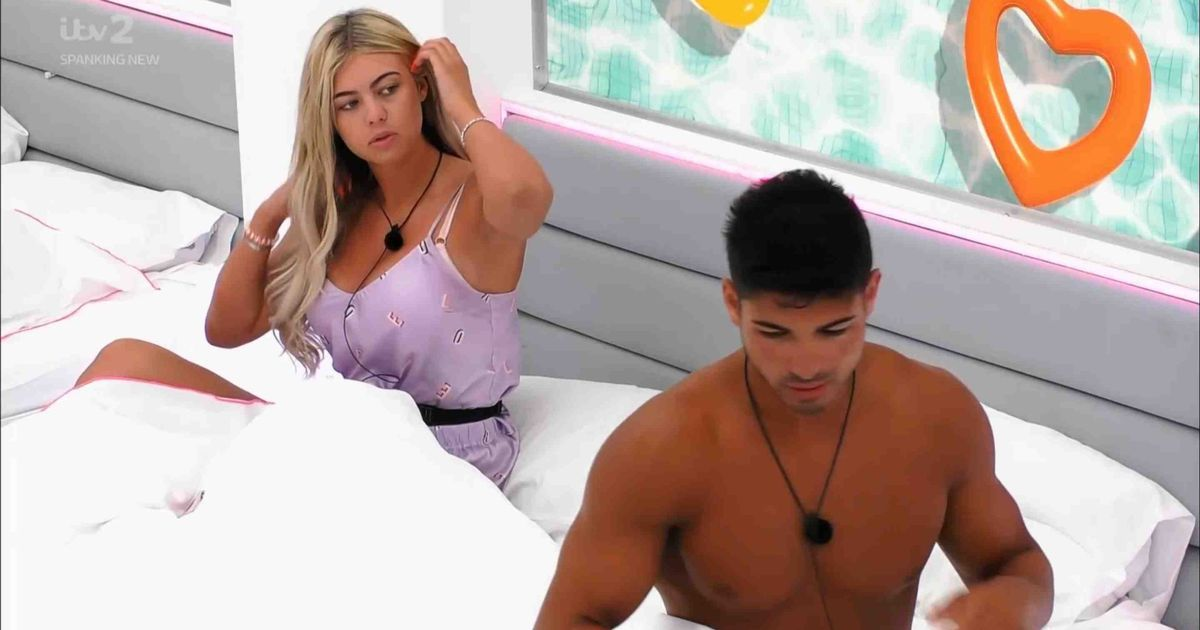 Image may contain: Love Island recoupling, Love Island, last night, couples, new, who left, dumped, Belle, Anton, Clothing, Apparel, Pendant, Human, Person