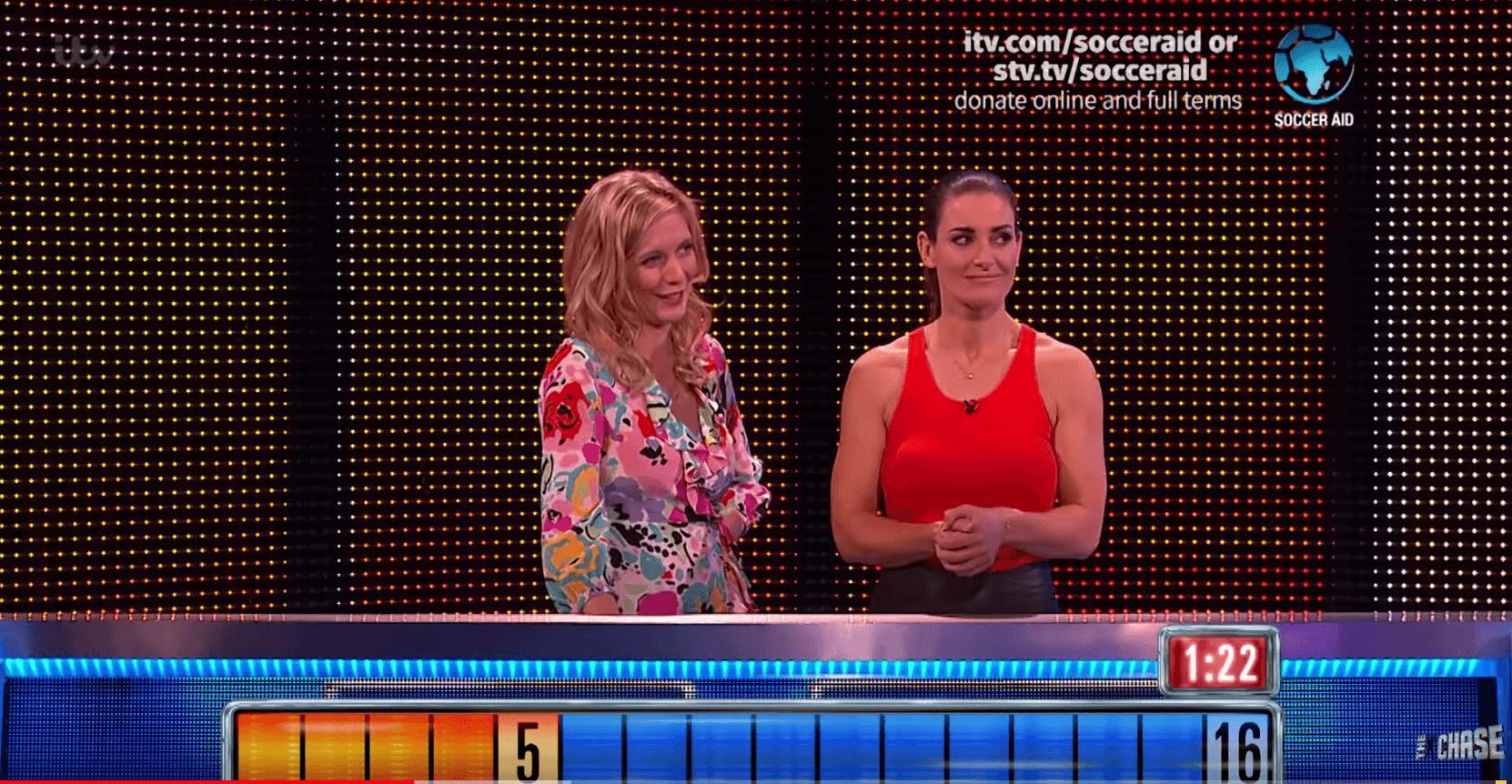 Image may contain: The Chase biggest wins, The Chase, big, wins, final, ITV, celebrity, Rachel Riley, Kirsty Gallacher, Bradley Walsh, final, chase, cash, builder, prize, fund, daytime, game show, Clothing, Apparel, Person, Human