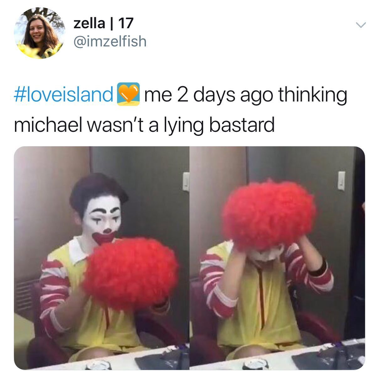 Image may contain: Casa Amor Love Island memes, Love Island, Casa Amor, meme, reaction, tweet, funny, savage, best, Twitter, Michael, Clown, Hair, Human, Person, Performer
