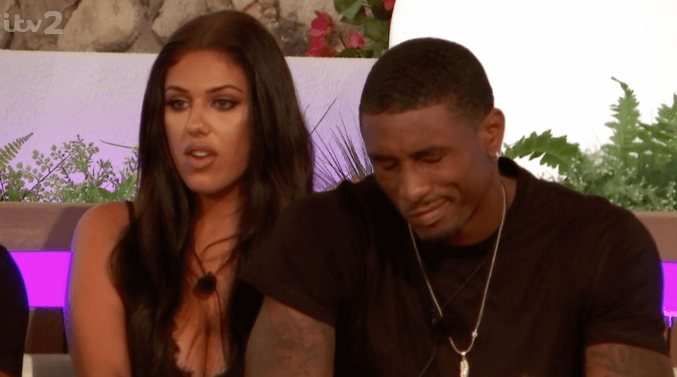 Image may contain: Love Island recoupling, Love Island, Anna, Ovie, couples, new, dumped, islanders, who left, Couch, Furniture, Necklace, Accessory, Jewelry, Accessories, Pillow, Pendant, Cushion, Human, Person