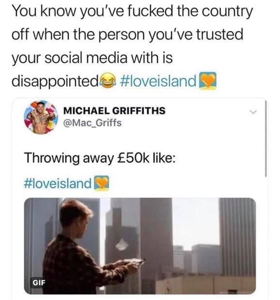 Image may contain:  Love Island recoupling memes, Love Island, memes, tweets, Michael, reactions, savage, twitter, Document, Id Cards, Text, Human, Person