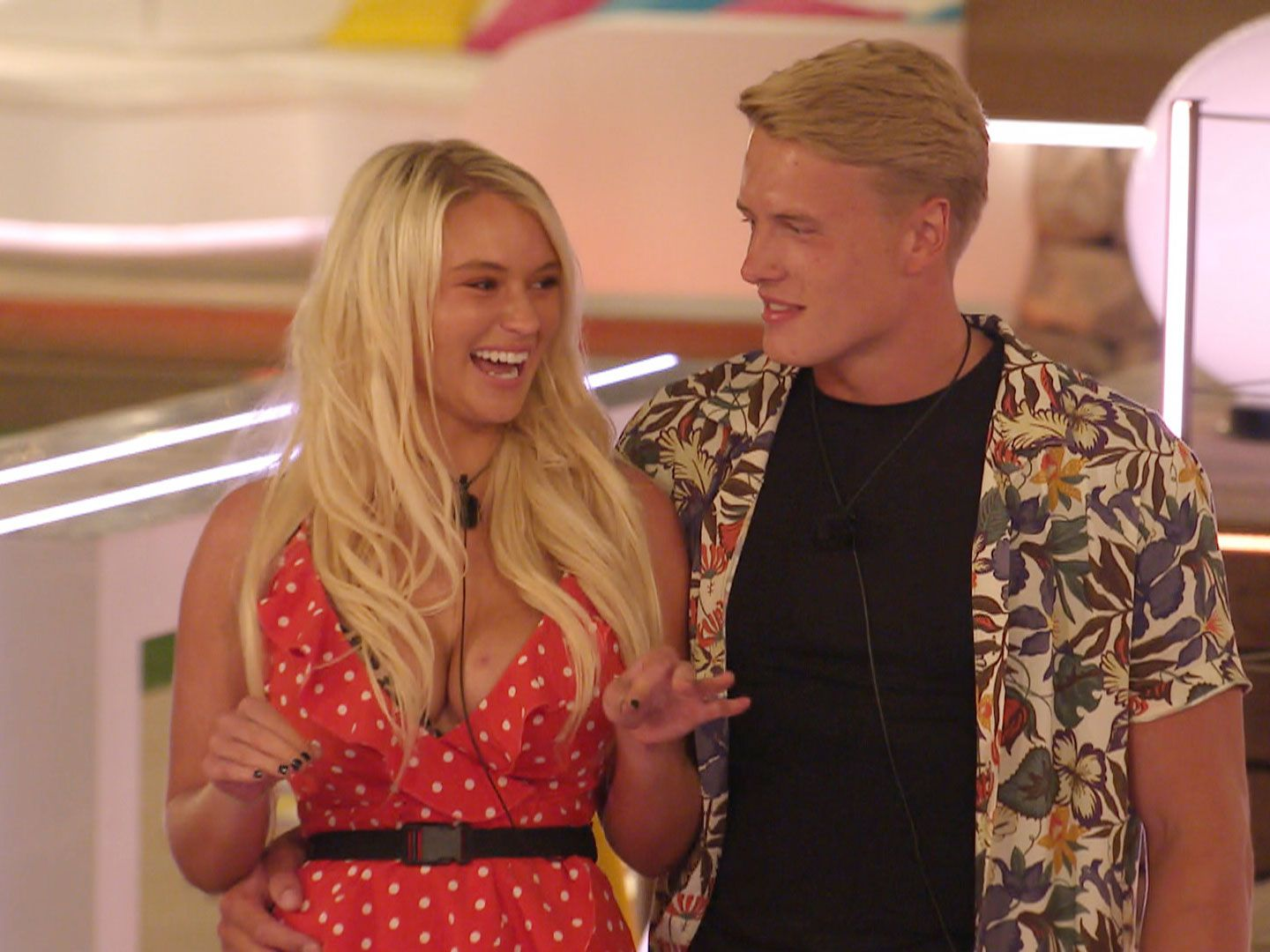 Image may contain: Love Island, Tommy, Molly-Mae, Lucie, George, gossip, news, latest, preview, tonight, sneak peek, gossip, Female, Girl, Teen, Blonde, Kid, Child, Woman, Fashion, Robe, Evening Dress, Gown, Sleeve, Home Decor, Apparel, Clothing, Person, Human