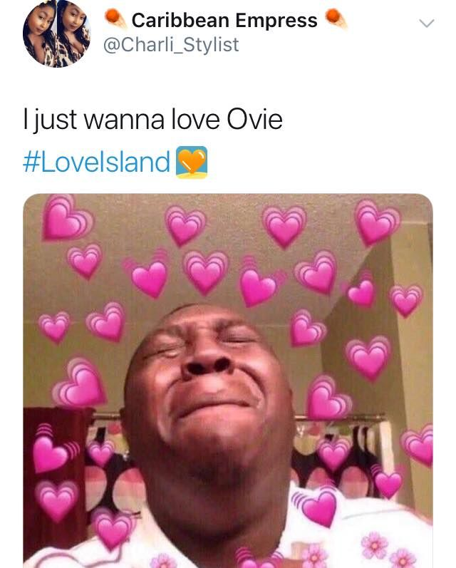 Image may contain: Love Island Ovie memes, Love Island, Ovie Soko, meme, reaction, twitter, tweet, Female, Photo Booth, Greeting Card, Portrait, Photo, Photography, Head, Envelope, Mail, Smile, Person, Face, Human