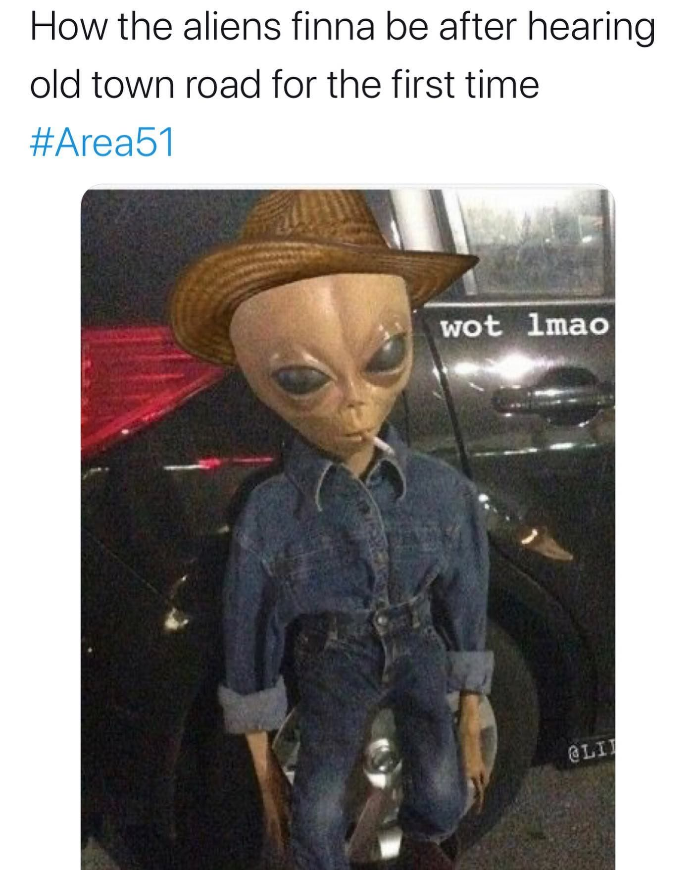 Image may contain: Area 51 memes, Area 51, meme, reaction, twitter, Las Vegas, Nevada, where, origin, explained, what is Area 51, alien, old town road, Figurine, Jeans, Denim, Person, Human, Pants, Apparel, Clothing, Hat