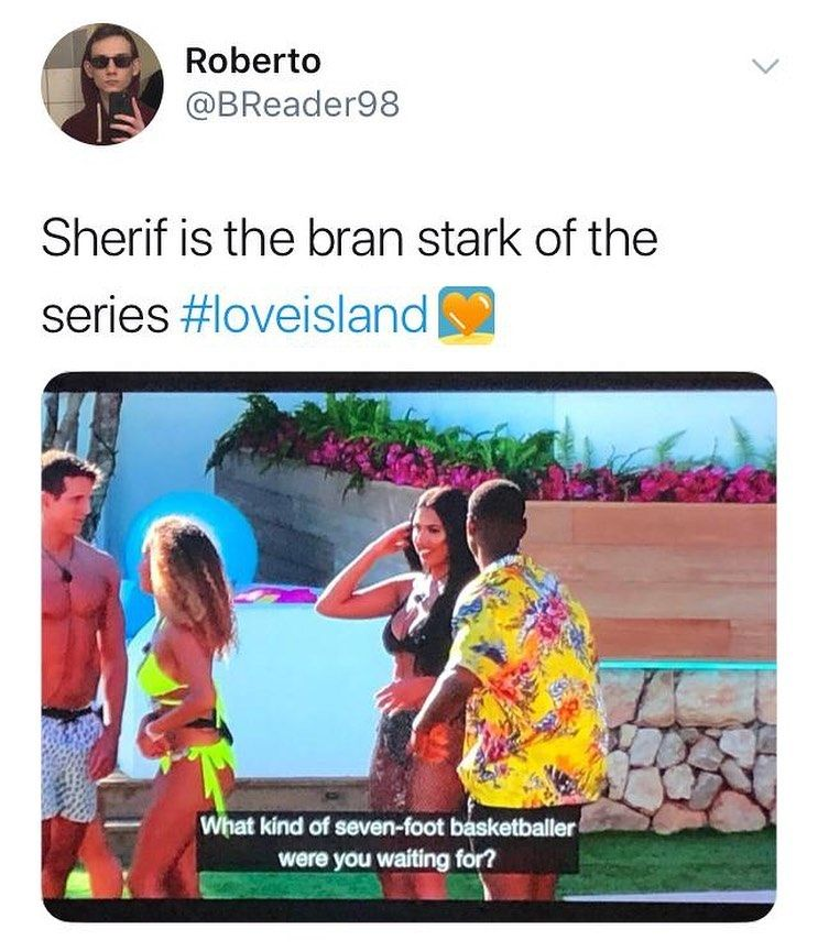 Image may contain: Casa Amor Love Island memes, Love Island, Casa Amor, meme, reaction, tweet, funny, savage, best, Twitter, Sherif, Anna, Ovie, basket ball, Flyer, Brochure, Paper, Accessories, Sunglasses, Accessory, Poster, Advertisement, Apparel, Clothing, Text, Human, Person
