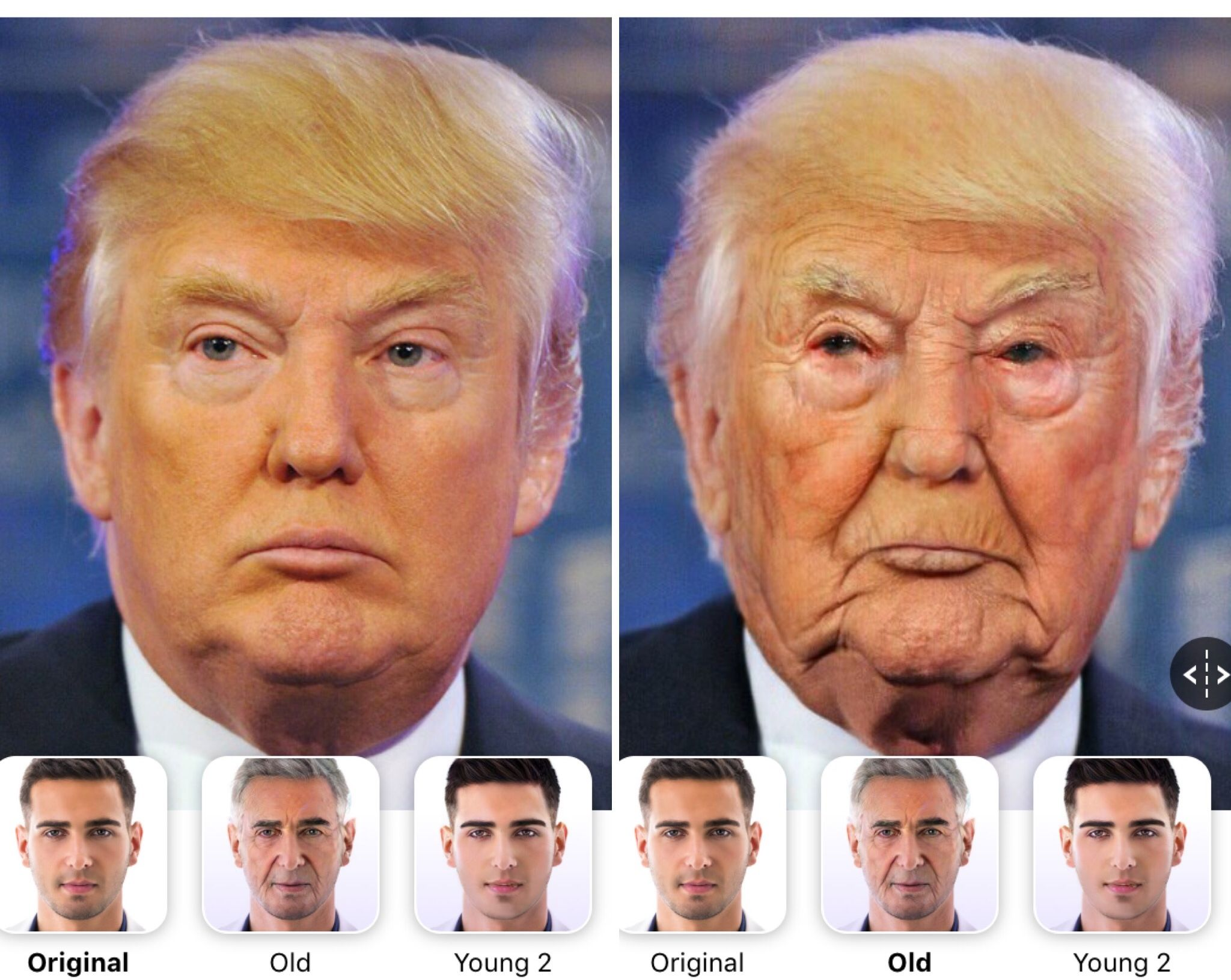 Image may contain: ageing filter, Donald Trump, FaceApp, app, older, filter, younger, old man, funniest, best, example, old woman, celebrities, social media, age changing app, make yourself look older app, free, app store, challenge, Frown, Head, Face, Human, Person