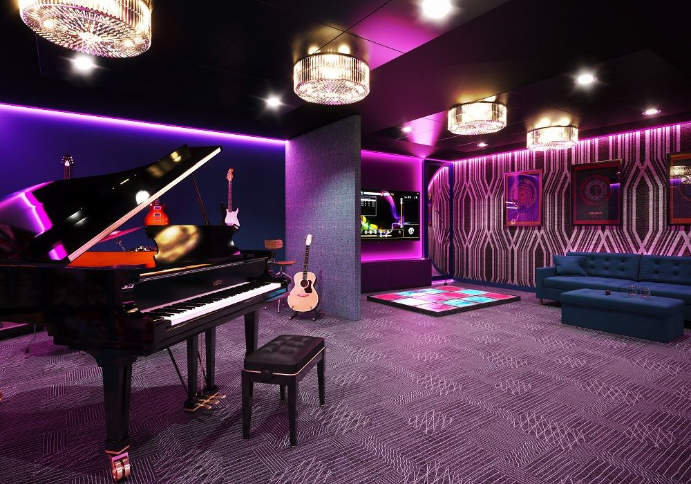 Image may contain: Grand Piano, Lighting, Musical Instrument, Leisure Activities, Piano