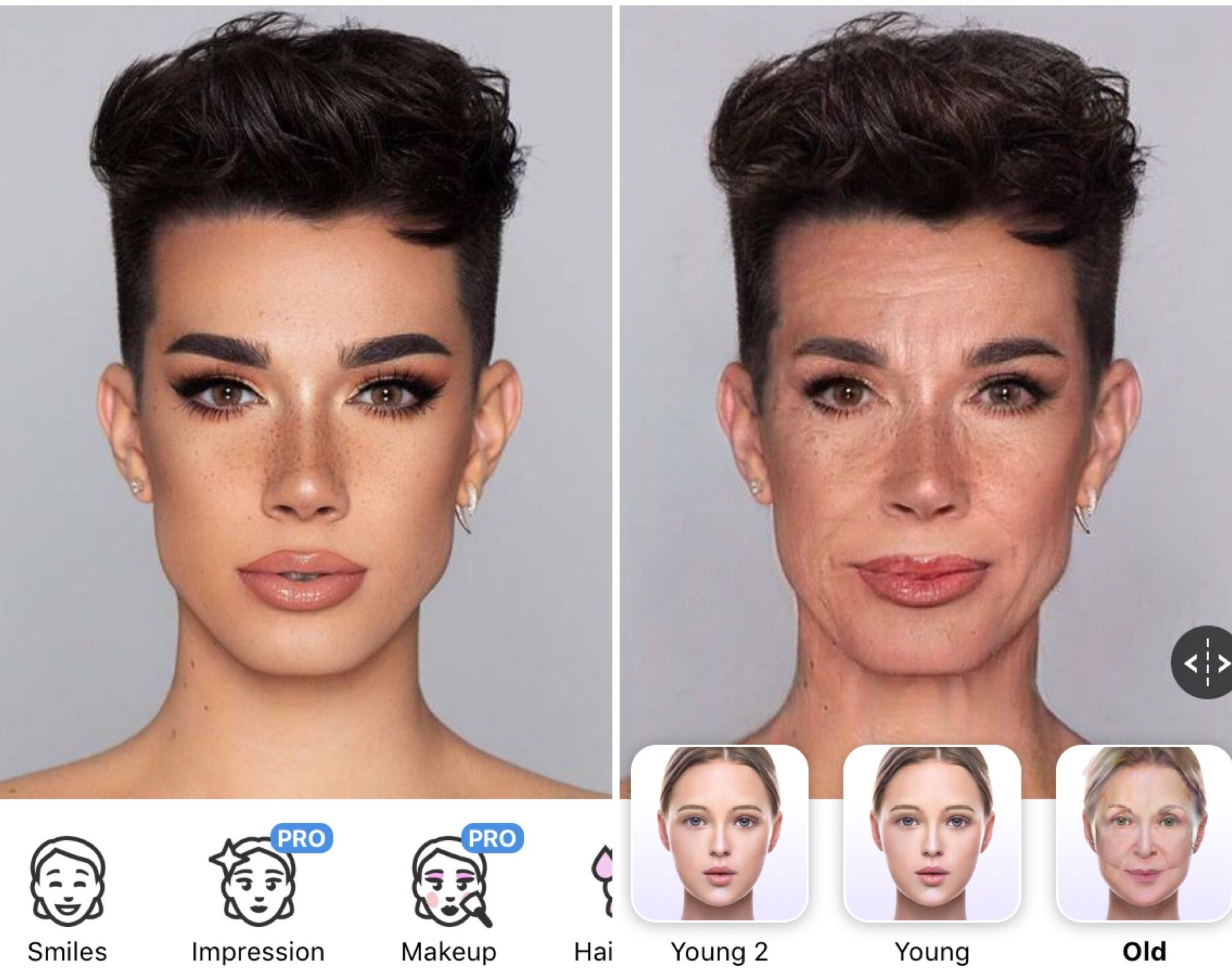 Image may contain: ageing filter, face app, app, older, funniest, best, example, filter, younger, celebrity, old man, old woman, social media, Instagram, Snapchat, Facebook, Twitter, age changing app, make yourself look older, free, ageing, challenge, James Charles, Haircut, Hair, Face, Person, Human
