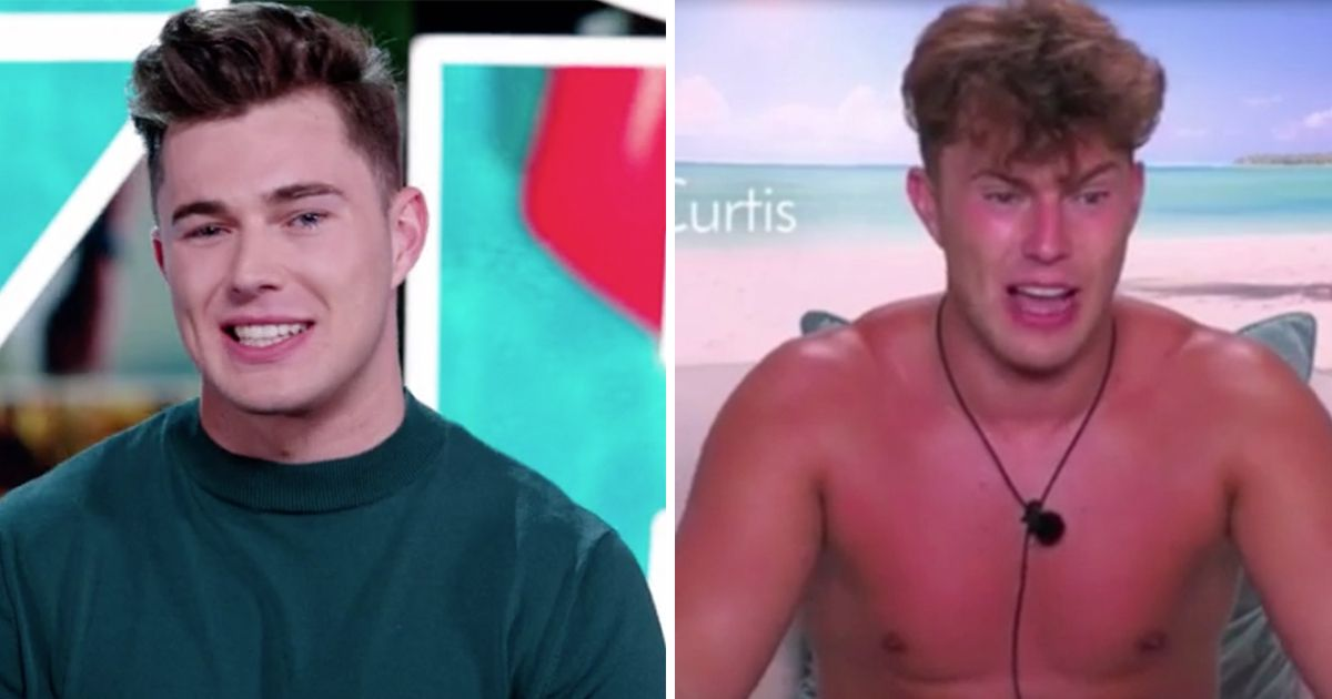 Image may contain: Love Island tans, Love Island, tan, burn, sun, before, after, tanformation, Curtis, Head, Smile, Man, Boy, Person, Face, Human