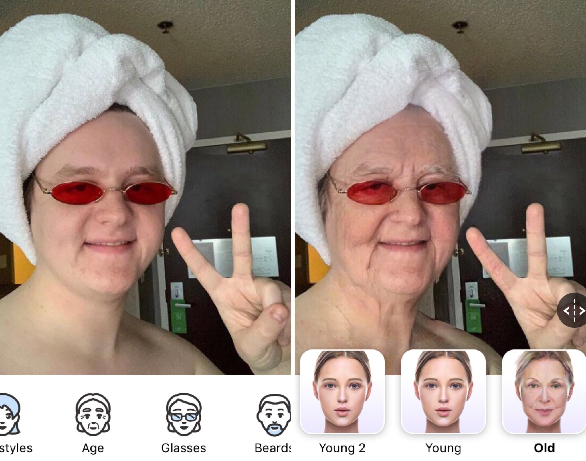 Image may contain: ageing filter, face app, app, older, filter, younger, celebrity, old man, old woman, social media, Instagram, Snapchat, Facebook, Twitter, age changing app, make yourself look older, free, ageing, challenge, Lewis Capaldi, funniest, best examples, Headband, Finger, Hat, Head, Face, Clothing, Apparel, Sunglasses, Accessory, Accessories, Human, Person