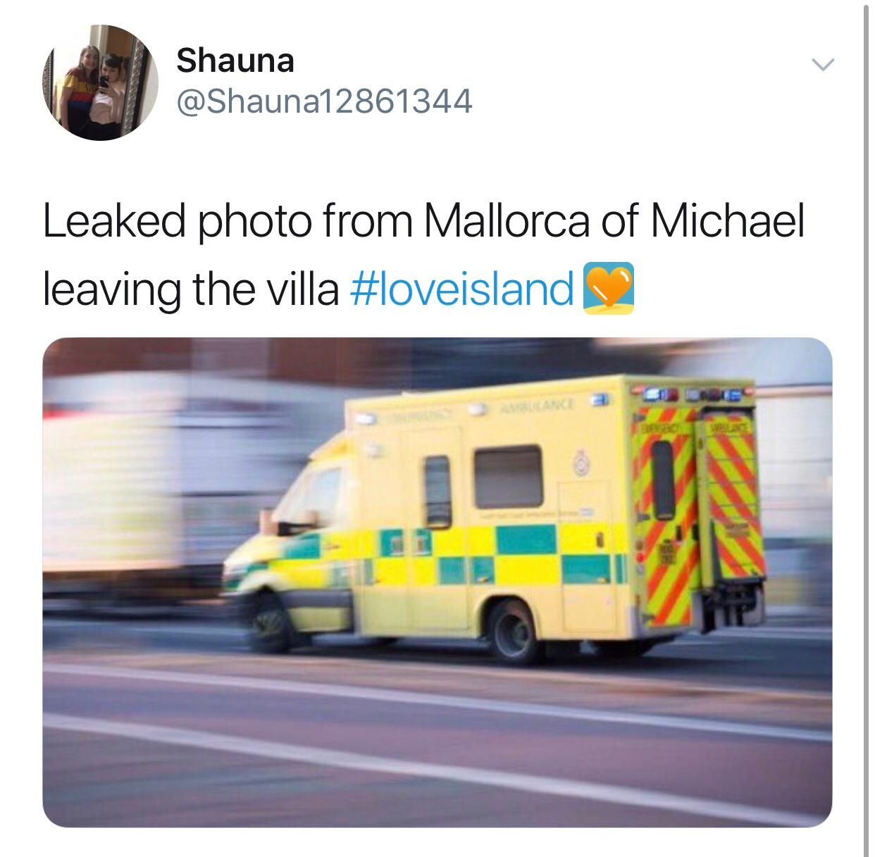 Image may contain:  Love Island recoupling memes, Love Island, memes, Michael, tweets, reactions, savage, twitter,Human, Person, Truck, Vehicle, Transportation, Ambulance, Van