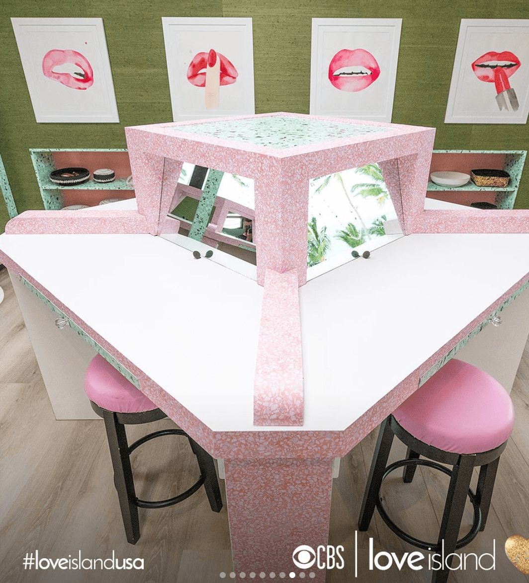 Image may contain: Love Island USA villa, Love Island USA, villa, Love Island, CBS, dressing, room, Fiji, bedroom, Indoors, Room, Chair, Dining Table, Table, Home Decor, Furniture