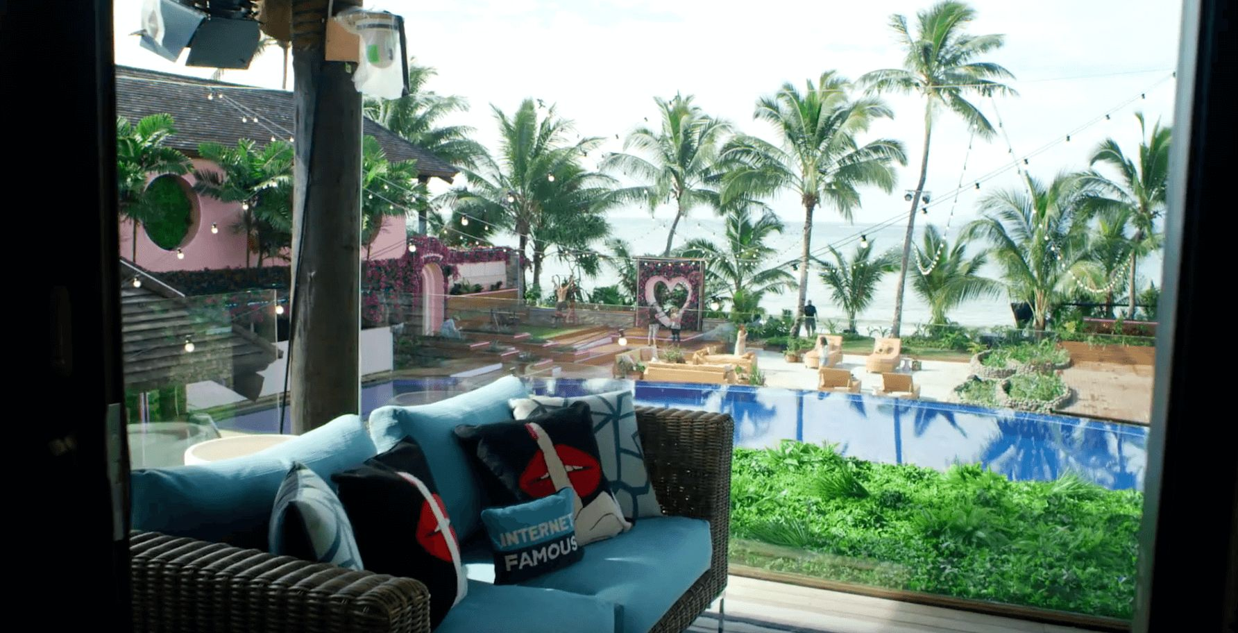 Image may contain: Love Island USA villa, Love Island USA, villa, Love Island, Fiji, view, ocean, sea, CBS, Interior Design, Indoors, Couch, Resort, Hotel, Building, Cushion, Furniture