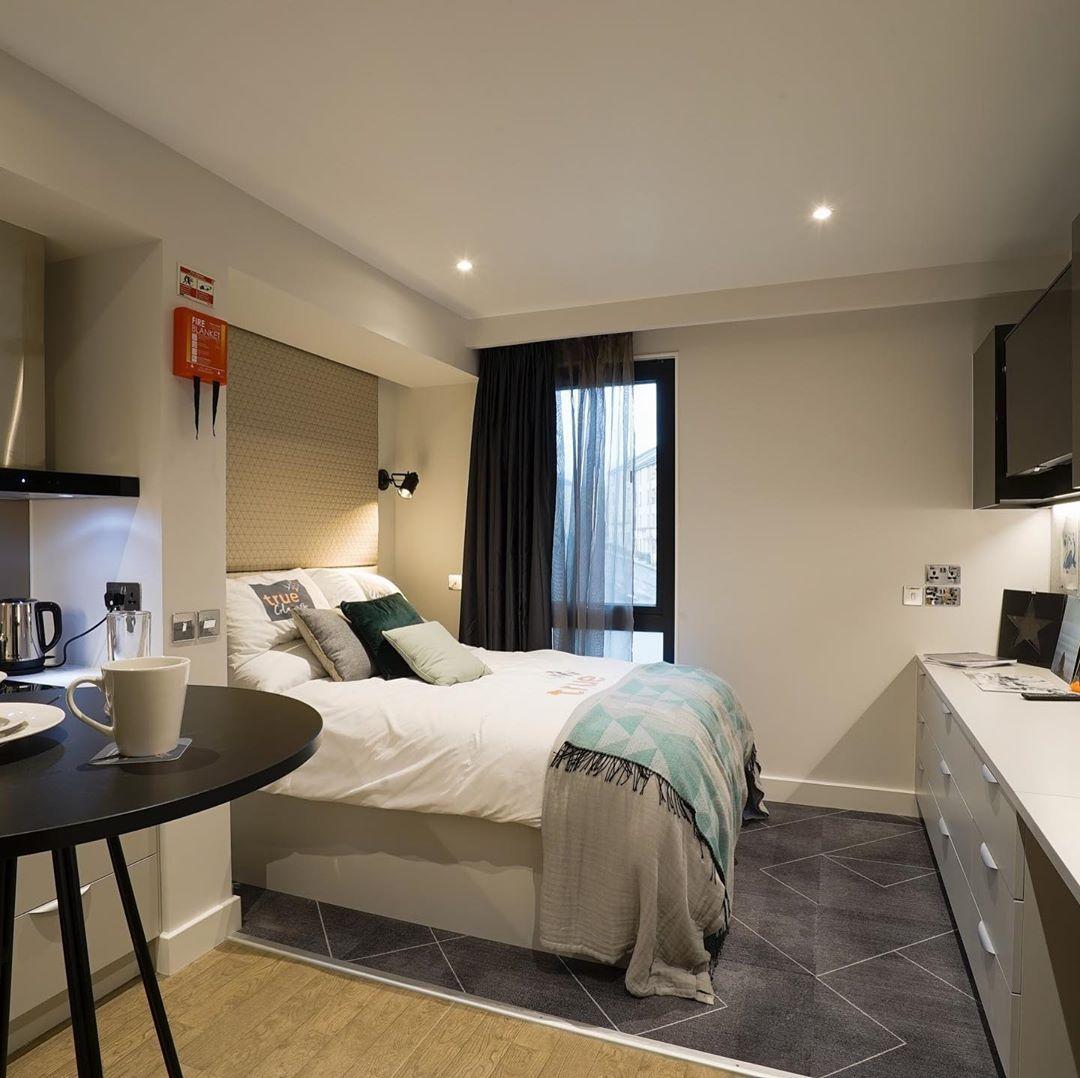 Image may contain: Interior Design, Wood, Dorm Room, Electronics, Screen, Monitor, Display, Flooring, Furniture, Bedroom, Indoors, Room