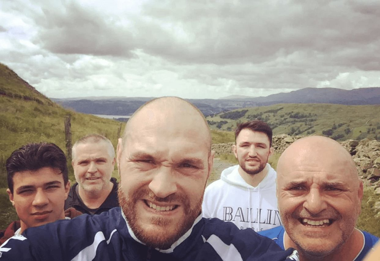 Image may contain: Love Island parents, Love Island, mum, dad, Tommy, John Fury, Tyson Fury, brother, Laughing, Plant, Mountain, People, Photo, Photography, Portrait, Man, Nature, Outdoors, Head, Clothing, Apparel, Person, Human, Face