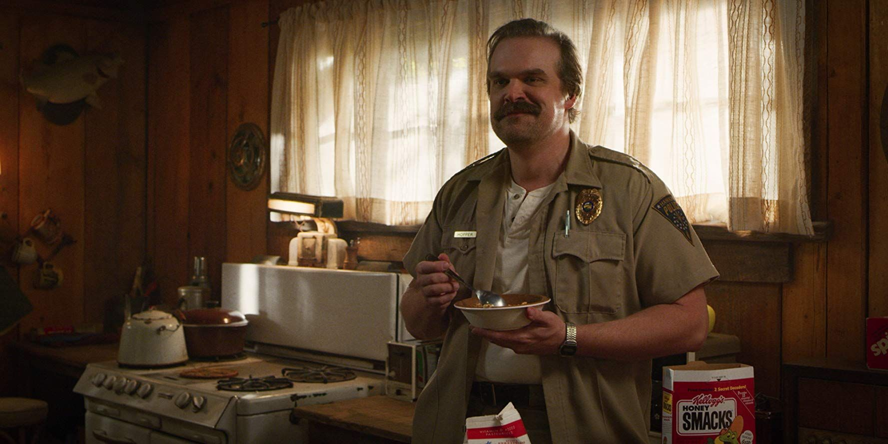 Image may contain: Stranger Things 3 end credit scene, post credits, Stranger Things 3, explained, theory, theories, ending, is Hopper dead, who, the American, door, spoilers, Netflix, finale, Stranger Things, hopper, alive, Jim Hopper, David Harbour,  Microwave, Oven, Appliance, Person, Human