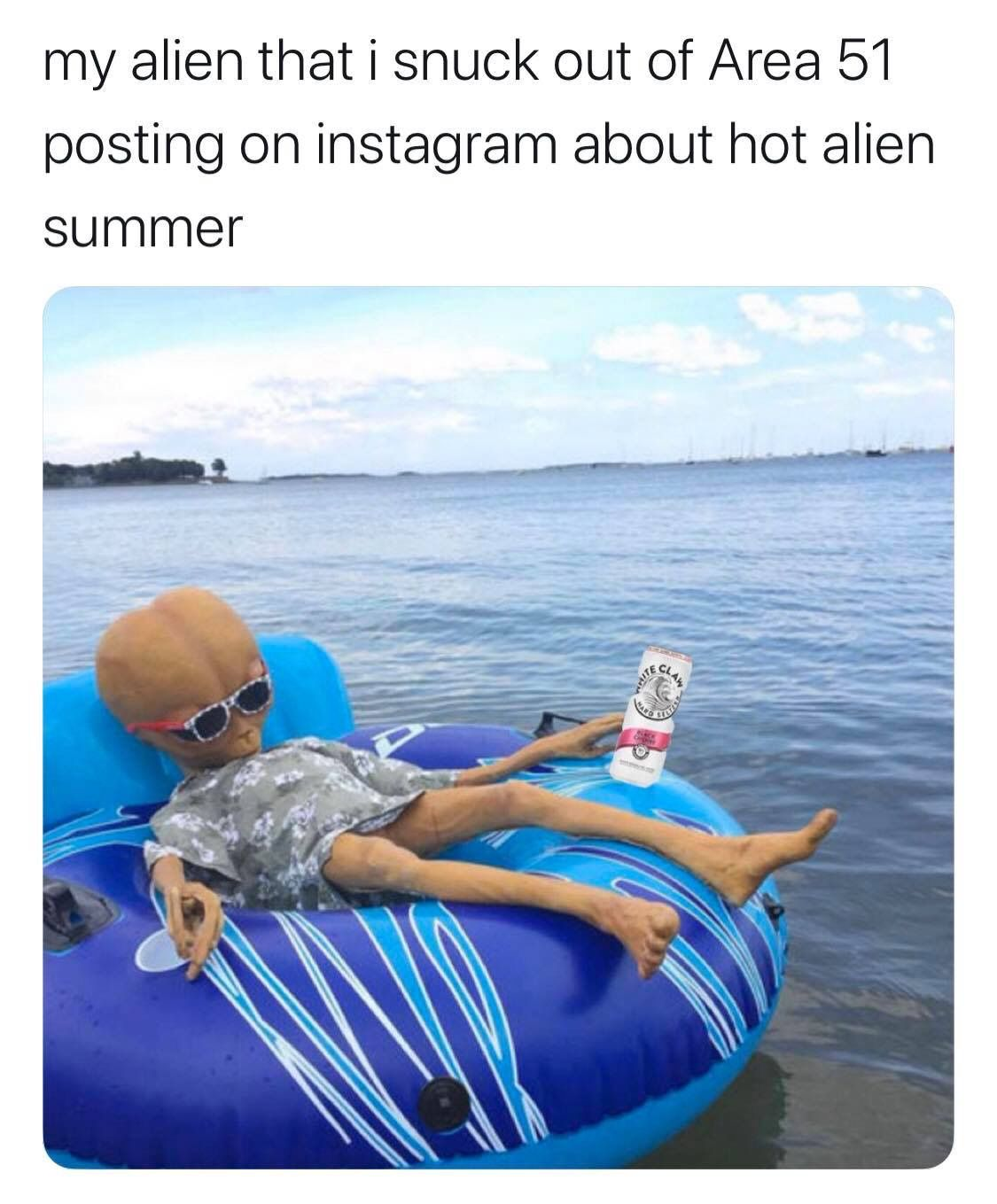 Image may contain: Area 51 memes, Area 51, meme, reaction, twitter, Las Vegas, Nevada, where, origin, explained, what is Area 51, alien, storm, facebook, event, Outdoors, Inflatable, Tubing, Accessories, Accessory, Sunglasses, Clothing, Apparel, Human, Person, Water