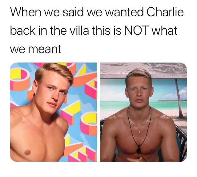Image may contain: Casa Amor Love Island memes, Love Island, Casa Amor, meme, reaction, tweet, funny, savage, best, Twitter, Charlie Frederick, George Rains, cast, contestants, Pendant, Face, Human, Person