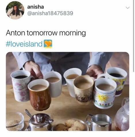 Image may contain: Casa Amor Love Island memes, Love Island, Casa Amor, meme, reaction, tweet, funny, savage, best, Twitter, Anton, Person, Human, Cup, Coffee Cup