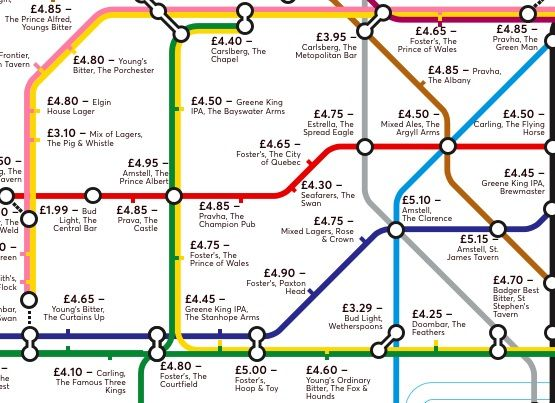 Image may contain: Cheapest pints in London, cheap pints, drinks, cheap, pint, London, Central, West, East, North, South, Map, Underground, tube line, alternative, Bakerloo, Metropolitan, Central, Circle, District, Station, pubs, Plan, Diagram, Plant, Vegetation, Building, Plot