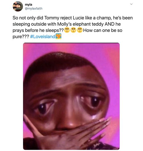 Image may contain: Casa Amor Love Island memes, Love Island, Casa Amor, meme, reaction, tweet, funny, savage, best, Twitter, Tommy, Molly-Mae, Portrait, Photo, Photography, Smile, Text, Head, Face, Person, Human