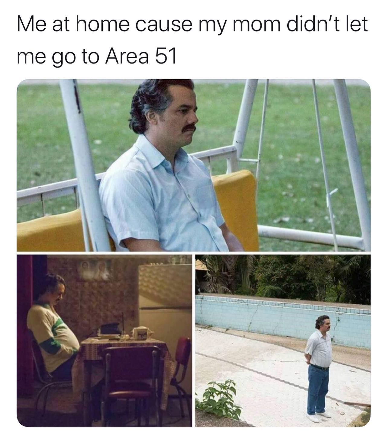 Image may contain: Area 51 memes, Area 51, meme, reaction, twitter, Las Vegas, Nevada, where, origin, explained, what is Area 51, alien, Poster, Advertisement, Jeans, Denim, Wood, Furniture, Chair, Pants, Clothing, Apparel, Human, Person