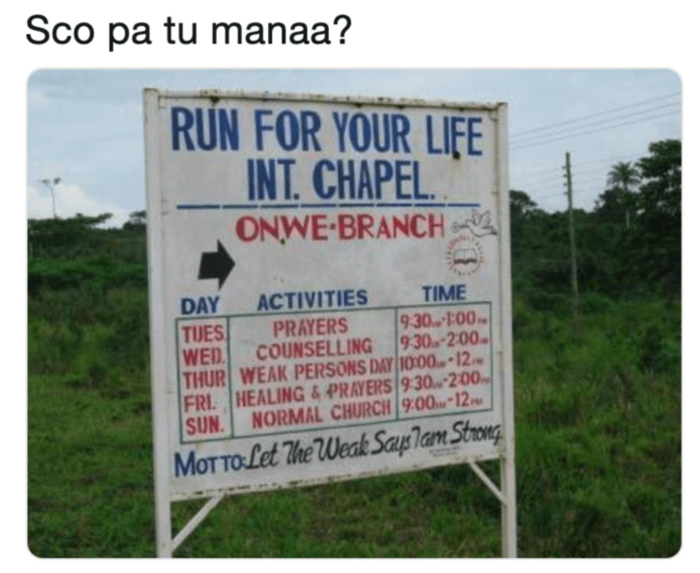 Image may contain: Sco Pa Tu manaa meaning, Sco Pa Tu manaa, what does Sco Pa Tu manaa mean, Twitter, viral, meme, examples, meme, define, origin, first, tweet, funny, Road Sign, Sign, Symbol, Advertisement, Poster