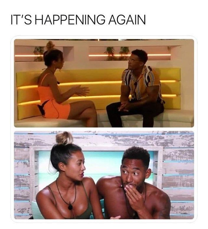 Image may contain: Casa Amor Love Island memes, Love Island, Casa Amor, meme, Michael, Amber, Joanna, Josh, Kaz, reaction, tweet, funny, savage, best, Twitter, Sitting, Furniture, Skin, Poster, Female, Swimwear, Advertisement, Face, Clothing, Apparel, Person, Human
