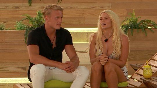 Image may contain: Love Island recoupling, last night, Love Island, Lucie, George, who left, dumped, Sitting, Girl, Blonde, Teen, Woman, Human, Female, Person, Kid, Child