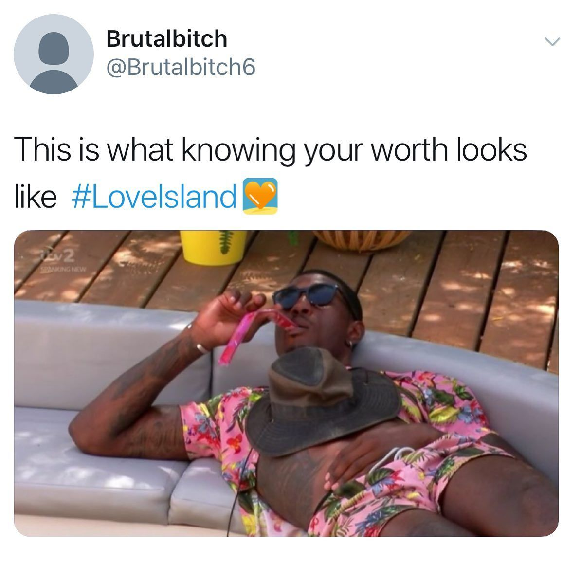 Image may contain: Love Island Ovie memes, Love Island, Ovie Soko, meme, reaction, twitter, funny, best, moment, ice lolly, shirt, hat, Skin, Human, Person, Accessory, Accessories, Sunglasses