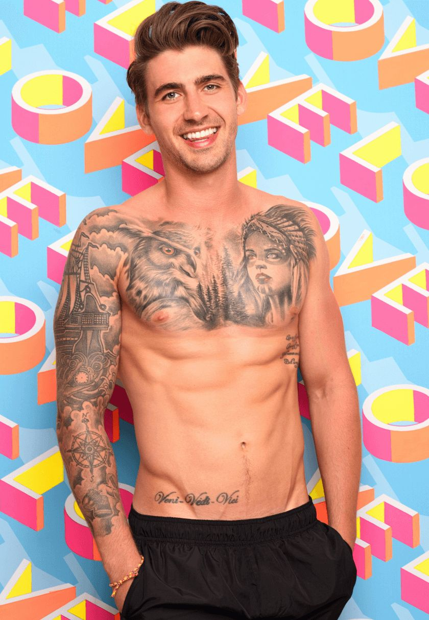 Image may contain: Chris Love Island, Chris Taylor, Love Island, bombshell, new, late, boy, arrival, contestant, cast, villa, Islander, Instagram, age, job, work, tattoos, Leicester, eyebrows, Chris, Tattoo, Human, Person, Skin