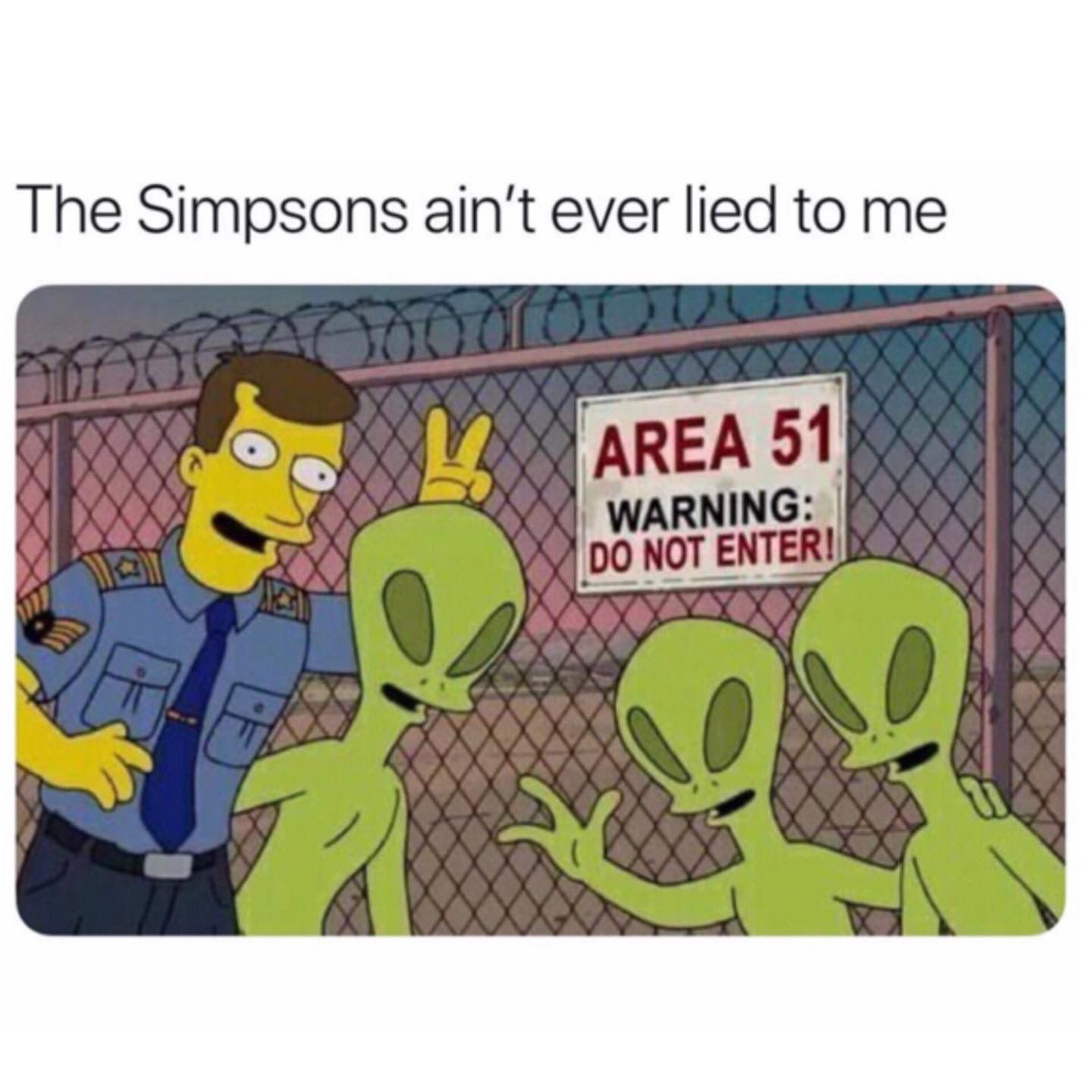 Image may contain: Area 51 memes, Area 51, meme, reaction, twitter, Las Vegas, Nevada, where, origin, explained, what is Area 51, alien, facebook, event, simpsons, guard, Text