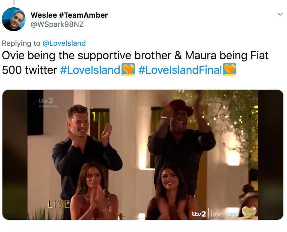 Image may contain: Love Island final memes, Love Island, final, 2019, meme, reaction, twitter, funny, best, Ovie, Maura, India, Curtis, Text, Face, Clothing, Apparel, Person, Human