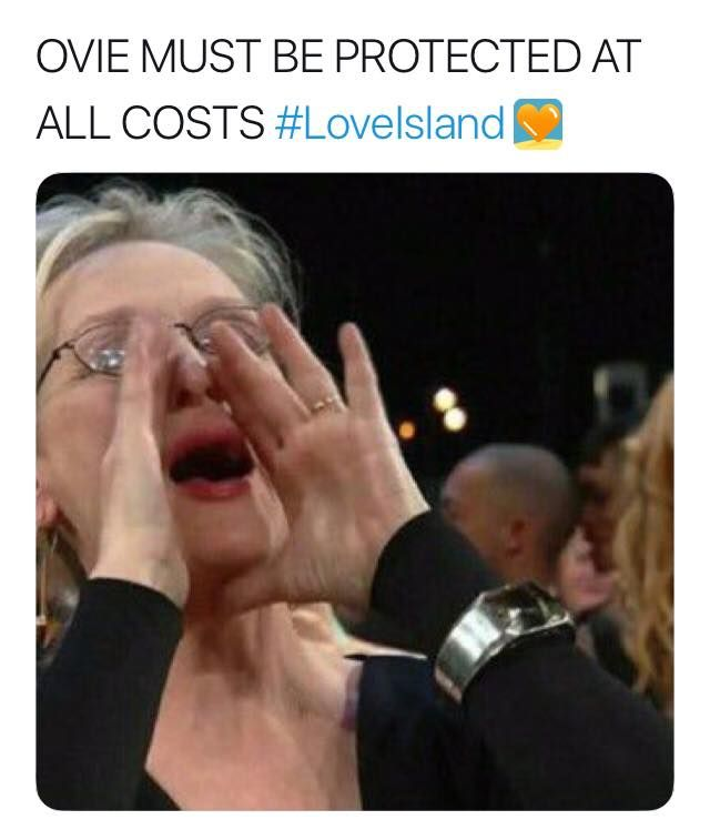 Image may contain: Love Island Ovie memes, Love Island, Ovie Soko, meme, Meryl Streep, Text, Human, Person
