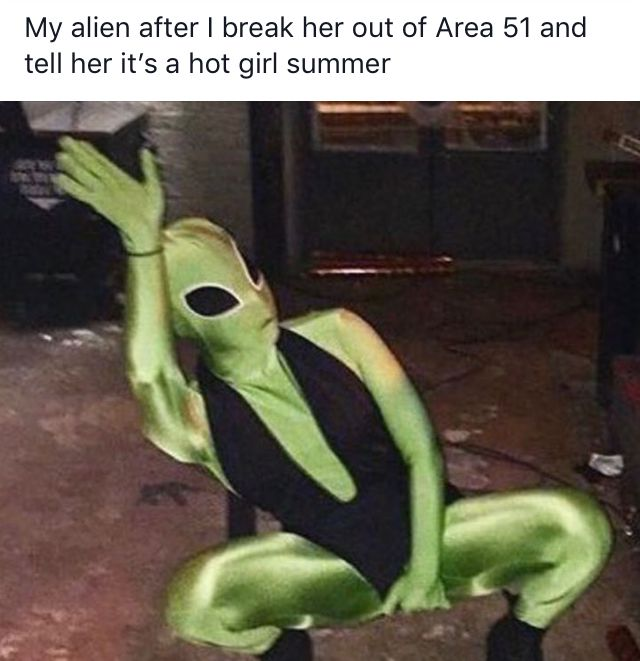 Image may contain: Area 51 memes, Area 51, meme, reaction, twitter, Las Vegas, Nevada, where, origin, explained, what is Area 51, alien, facebook, event, hot girl summer, Toy, Human, Person, Costume, Clothing, Apparel