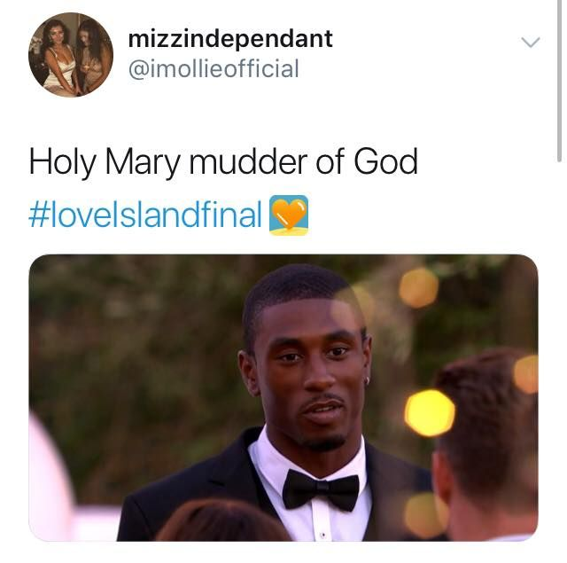 Image may contain: Love Island final memes, Love Island, final, 2019, meme, reaction, twitter, funny, best, Ovie, Tuxedo, Face, Suit, Overcoat, Coat, Text, Clothing, Apparel, Person, Human