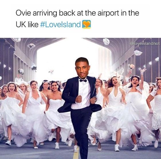 Image may contain: Love Island final memes, Love Island, final, 2019, meme, reaction, twitter, funny, best, Ovie, airport, winner, Tuxedo, Face, Woman, Evening Dress, Female, Wedding Gown, Bride, Bridegroom, Dress, Wedding, Overcoat, Suit, Coat, Gown, Fashion, Robe, Person, Human, Clothing, Apparel