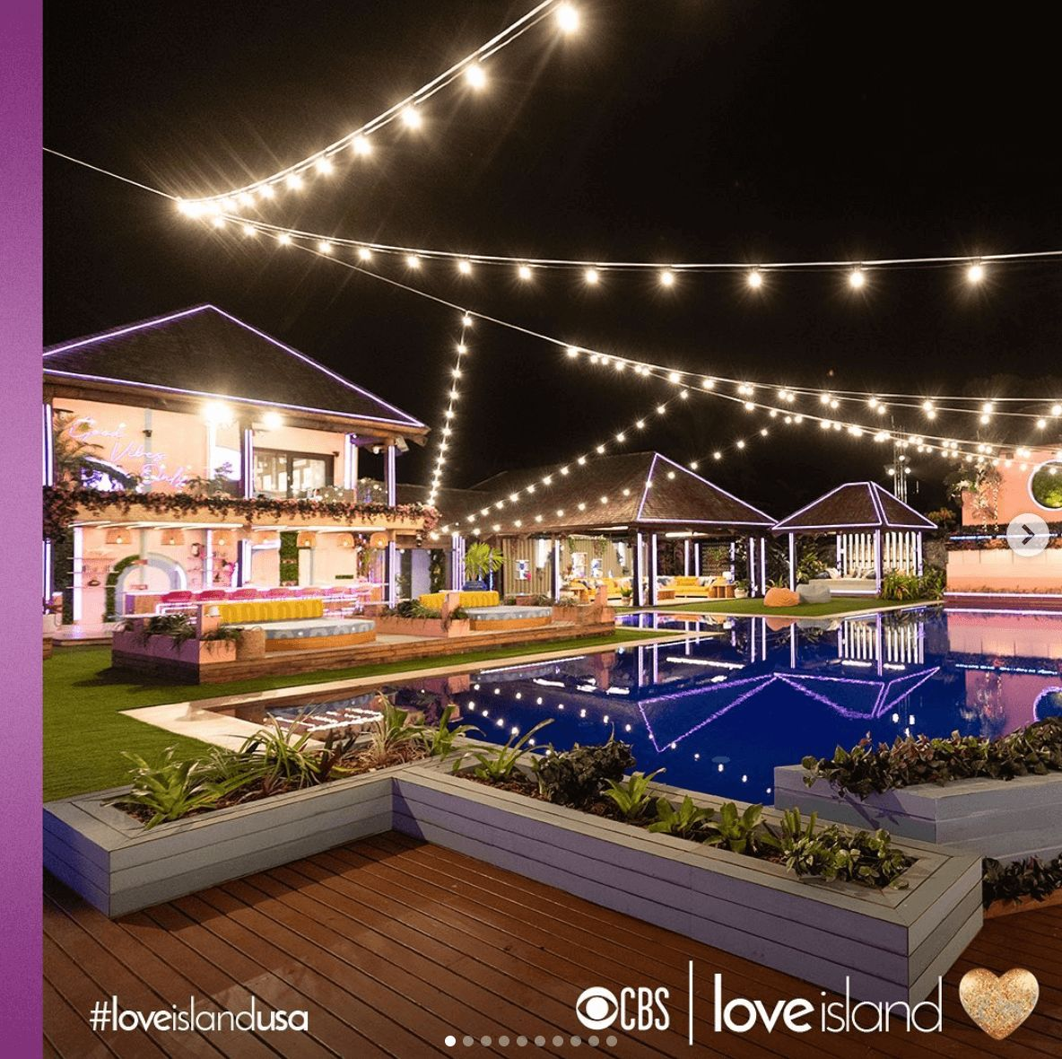 Image may contain: Love Island USA villa, Love Island USA, villa, Love Island, CBS, Fiji, outside, pool, Water, Building, Lighting