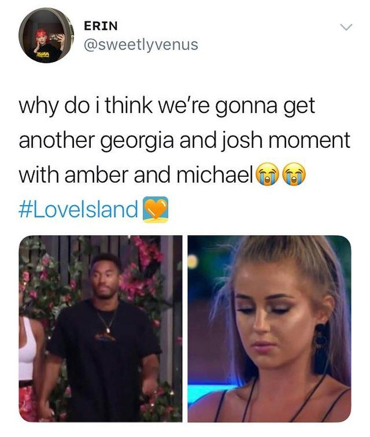Image may contain: Casa Amor Love Island memes, Love Island, Casa Amor, meme, reaction, tweet, funny, savage, best, Twitter, Amber, Georgia Steel, Kaz, Josh, Michael, Word, Female, Clothing, Apparel, Text, Face, Human, Person