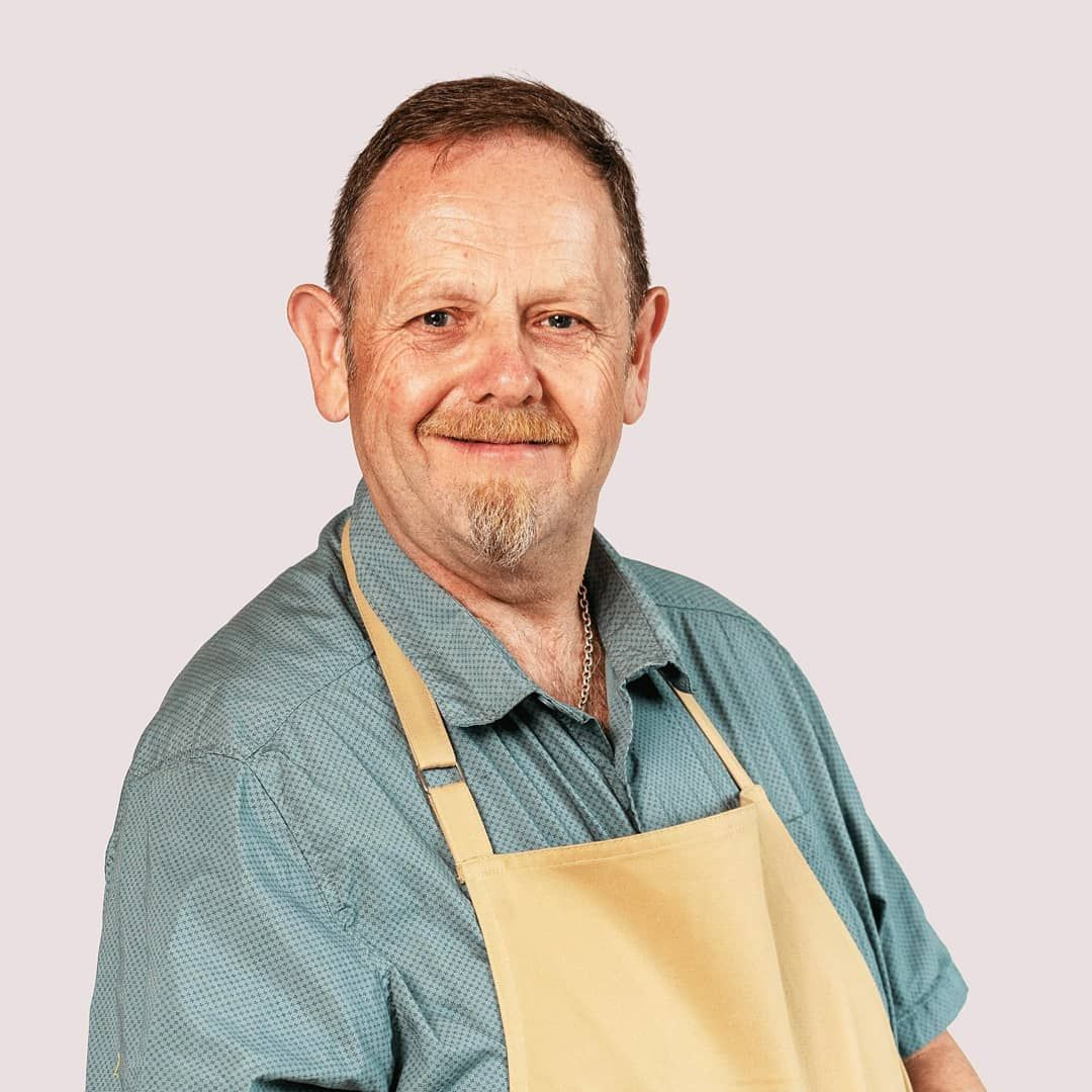 Image may contain: Great British Bake Off 2019, Phil Thorne, Phil, job, age, cast, contestants, lineup, Instagram, GBBO, Bake Off, 2019, start date, Channel 4, Apron, Person, Human