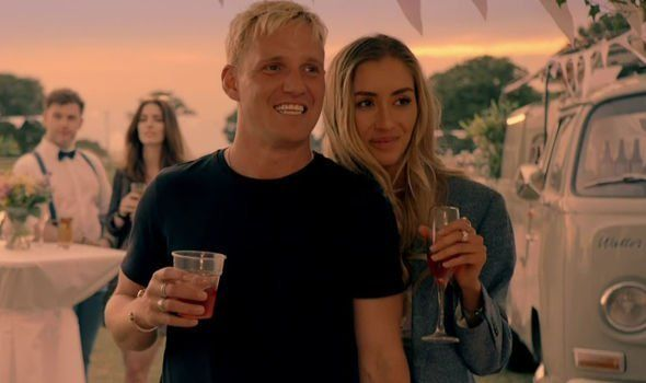 Image may contain: Sam and Zara Made in Chelsea, Made in Chelsea, Sam Thompson, girlfriend, Zara, Jamie Laing, Habbs, Sophie Habboo, series 18, cast, new,  Clothing, Apparel, Alcohol, Glass, Face, Drink, Beverage, Drinking, Dating, Person, Human